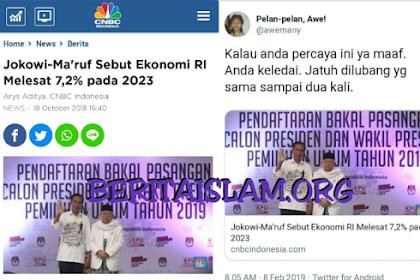 Timses: Kalau Jokowi Terpilih Lagi, Ekonomi Melesat 7,2%. Warganet: Kalau Percaya, Anda Keledai!