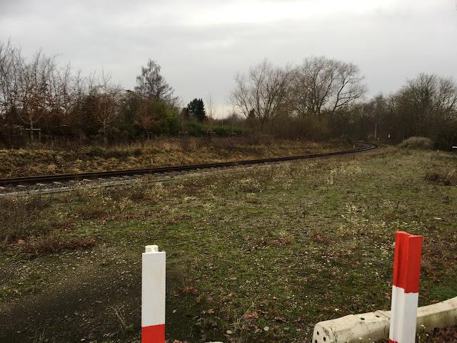 Vorn zwei weiß-rot lackierte ehemalige Schienen als Zaunpfahl. Dann wieder die dreckig braun-grüne Wiese und das rostige Gleis, dass nun rechts zwischen Bäumen verschwindet.