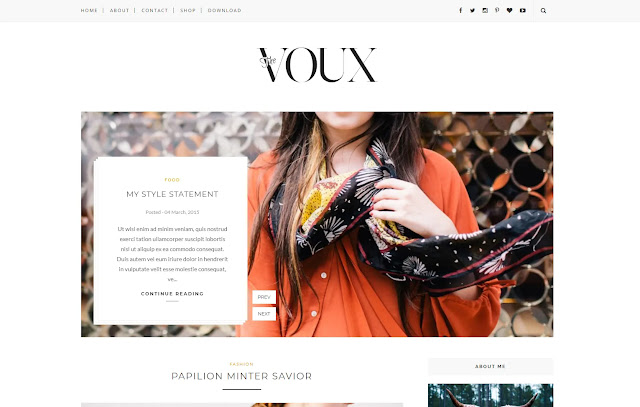 Voux Responsive Personal Blog Fashions Lifestyle Girly Update Blogger Template Theme