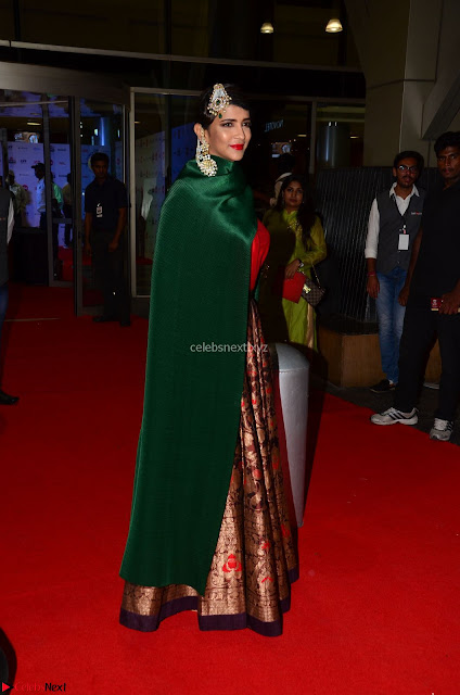 Manchu Lakshmi in a Strange Green Saree at 64th Jio Filmfare Awards South ~  Exclusive 001.JPG