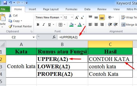 Cara Merubah Huruf Kecil Menjadi Huruf Besar di Excel