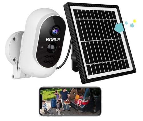 BORUN Outdoor Security Camera with Solar Panel