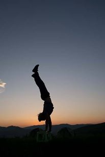 Handstands at sunset at the Orkhon River Valley