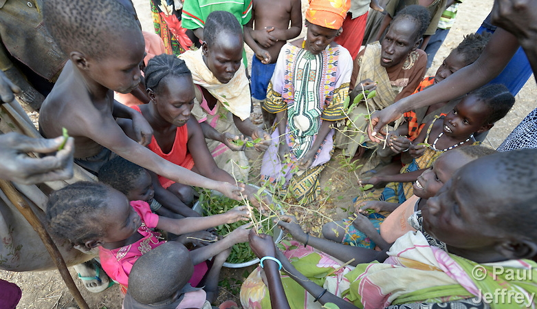 people eating leaves south sudan