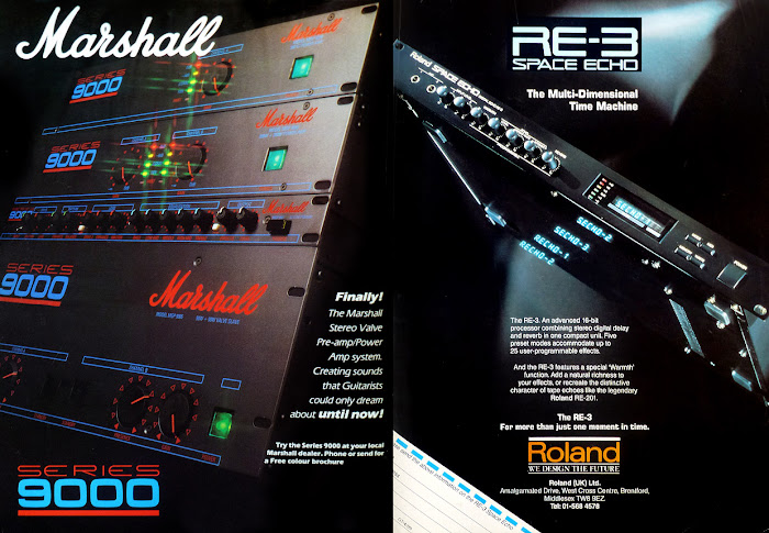 Marshall Series 9000 power amp and RE-3 Roland Space Echo from the heyday of guitar racks