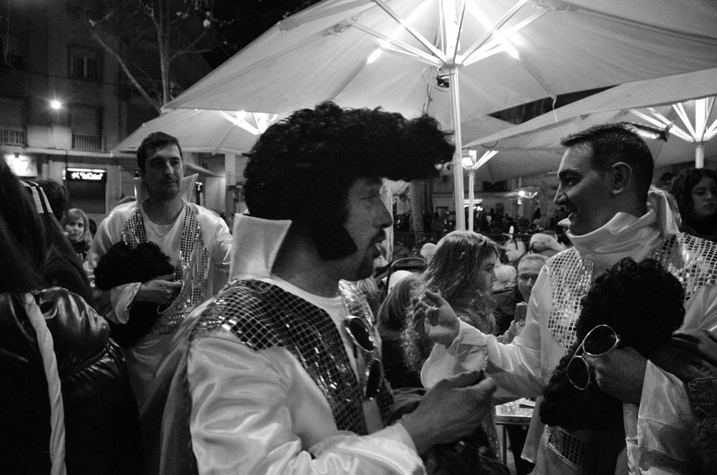 Guy wearing Elvis costume in Horta Carnival Barcelona