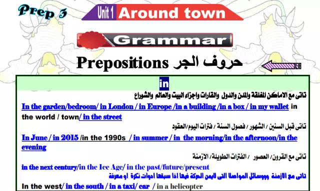مذكرة جرامر قواعد اللغة الانجليزية منهج الصف الثالث الاعدادي الترم الاول 2021