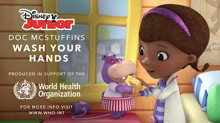 Wash your hands says cartoon favourite cute girl Doc McStuffins