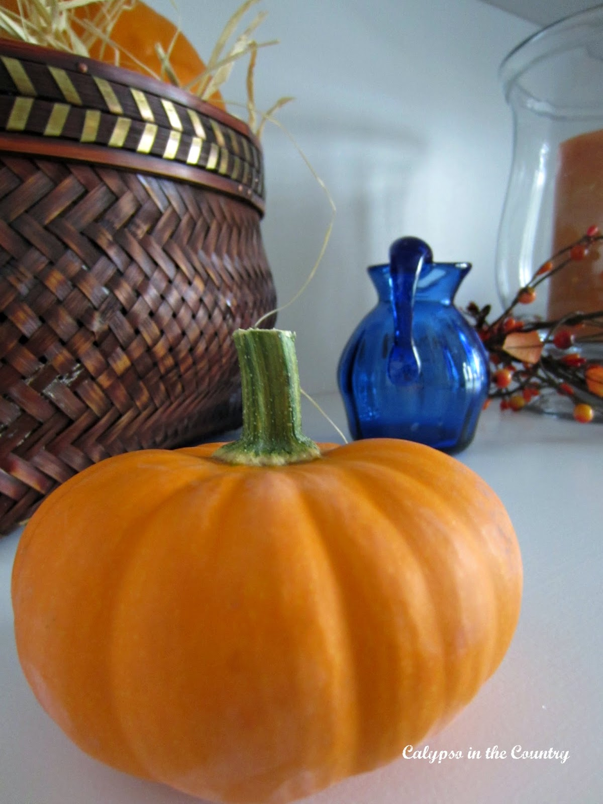 Fall Decor with blue and orange