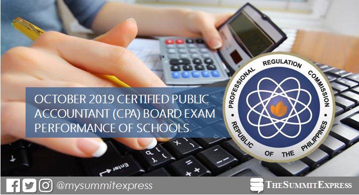 CPALE RESULT: October 2019 CPA board exam performance of schools