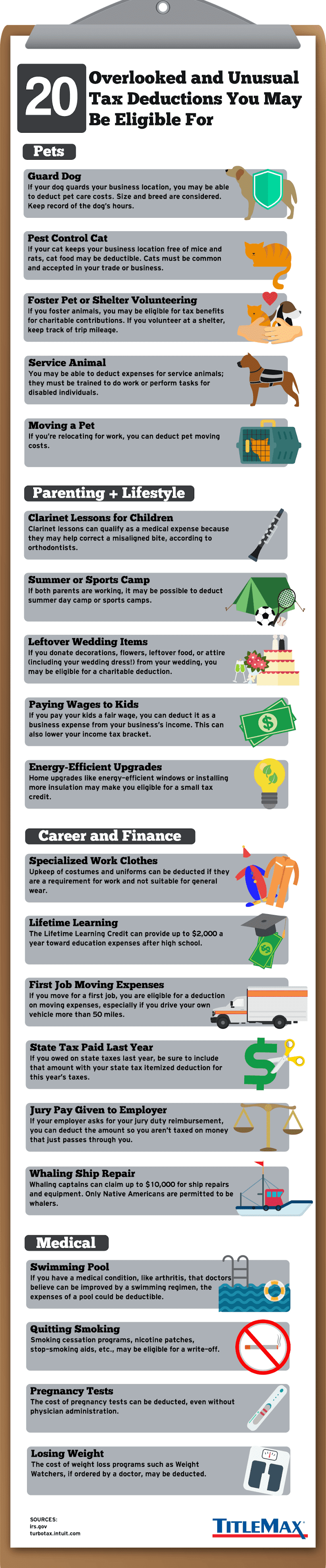 20 Overlooked and Unusual Tax Deductions You May Be Eligible For #infographic