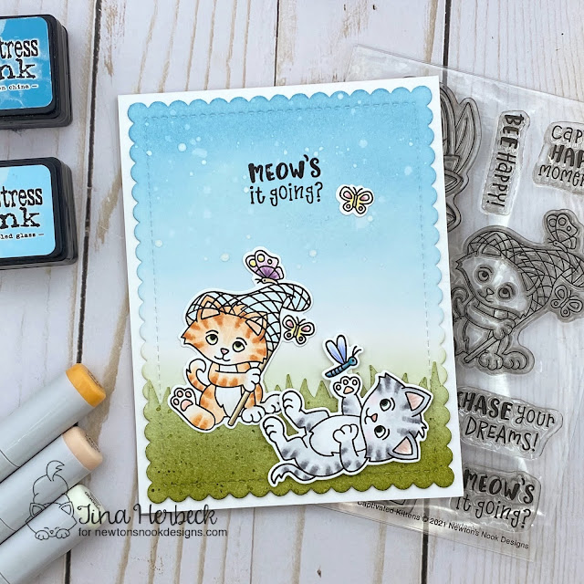 Meow's it Going Cat card by Tina Herbeck | Captivated Kittens Stamp Set, Land Borders Die Set, and Frames & Flags Die Set by Newton's Nook Designs #newtonsnook