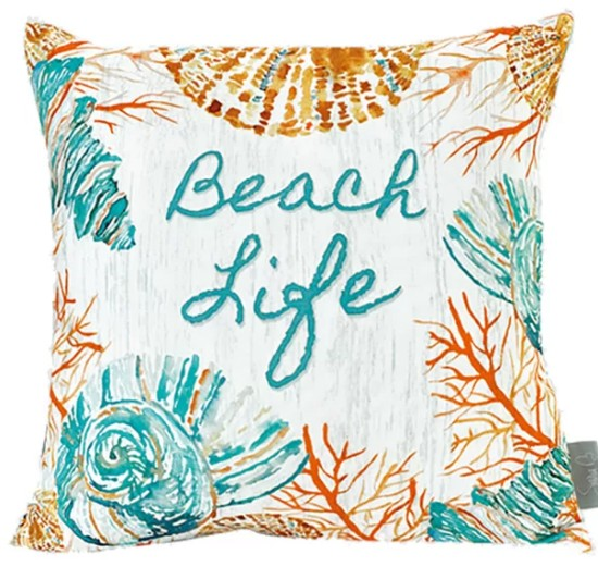 Cotton Canvas Beach Life Pillow