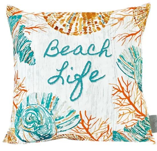 Cotton Canvas Beach Life Pillow