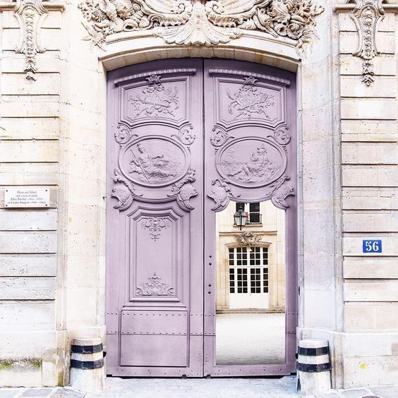 paris, entrance door mauve | Images of inspiration in Lavender, Lilac and Mauve