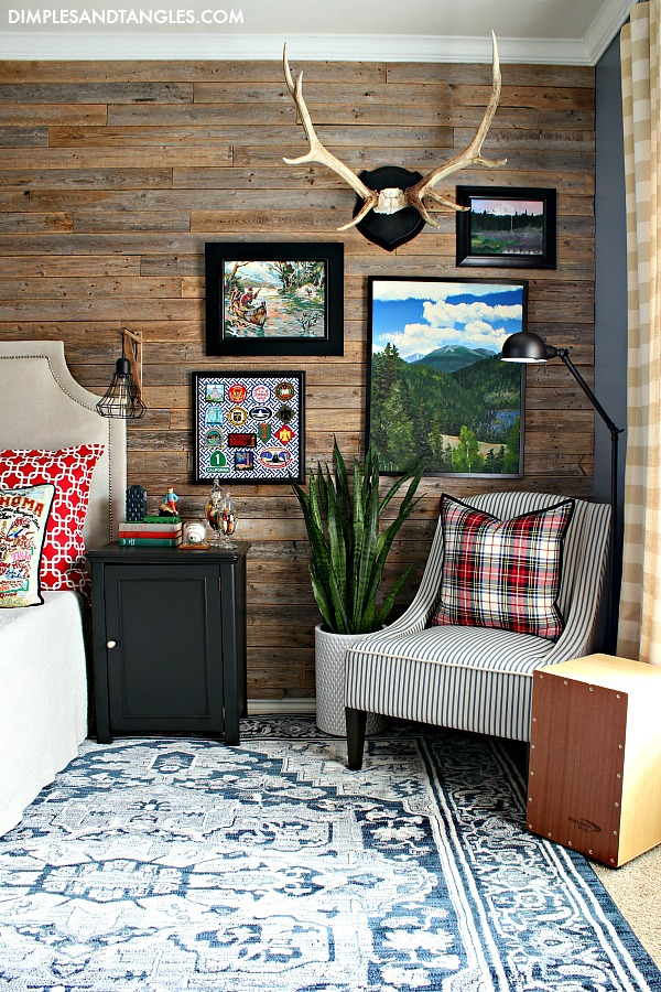 vintage style area rug, wood plank wall, At Home Stores, Kayson Chair, Caprice Rug