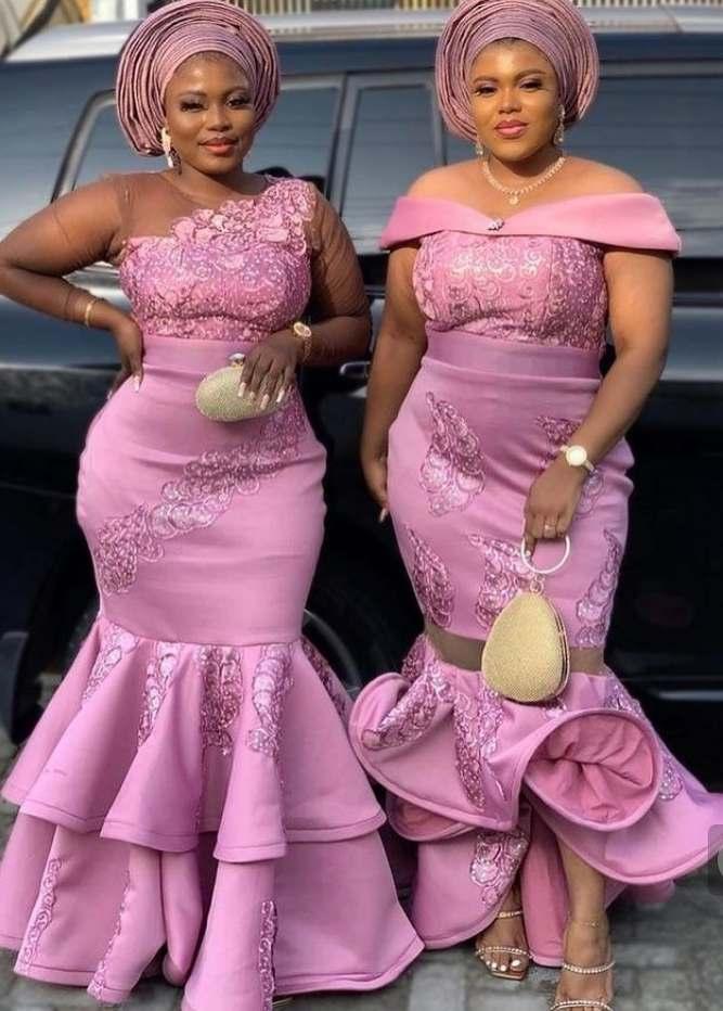 Onion Colour Asoebi Lace Styles