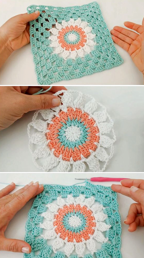 Easy To Crochet Beautiful Granny Square - Tutorial