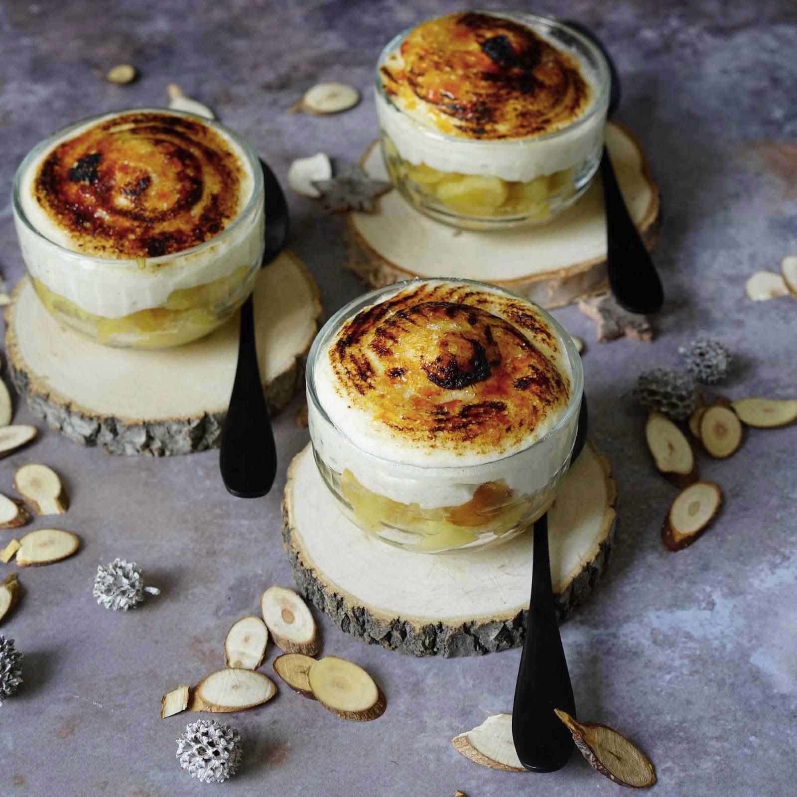 crème chiboust , crème patissière , feve tonka , dessert aux pommes
