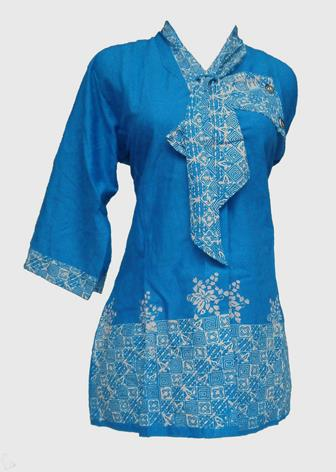 Model Baju Batik Atasan Kombinasi Kain Polos