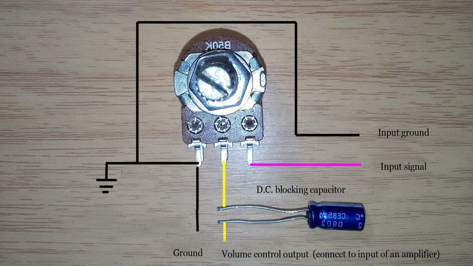 how to connect volume control to an amplifier rh easyandworkproject xyz Potentiometer Wiring Guide 3-Pin Slide Potentiometer Wiring