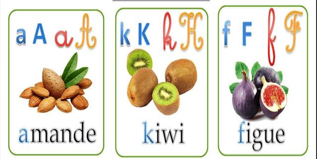 حروف اللغة الفرنسية مع صور توضيحية للأطفال