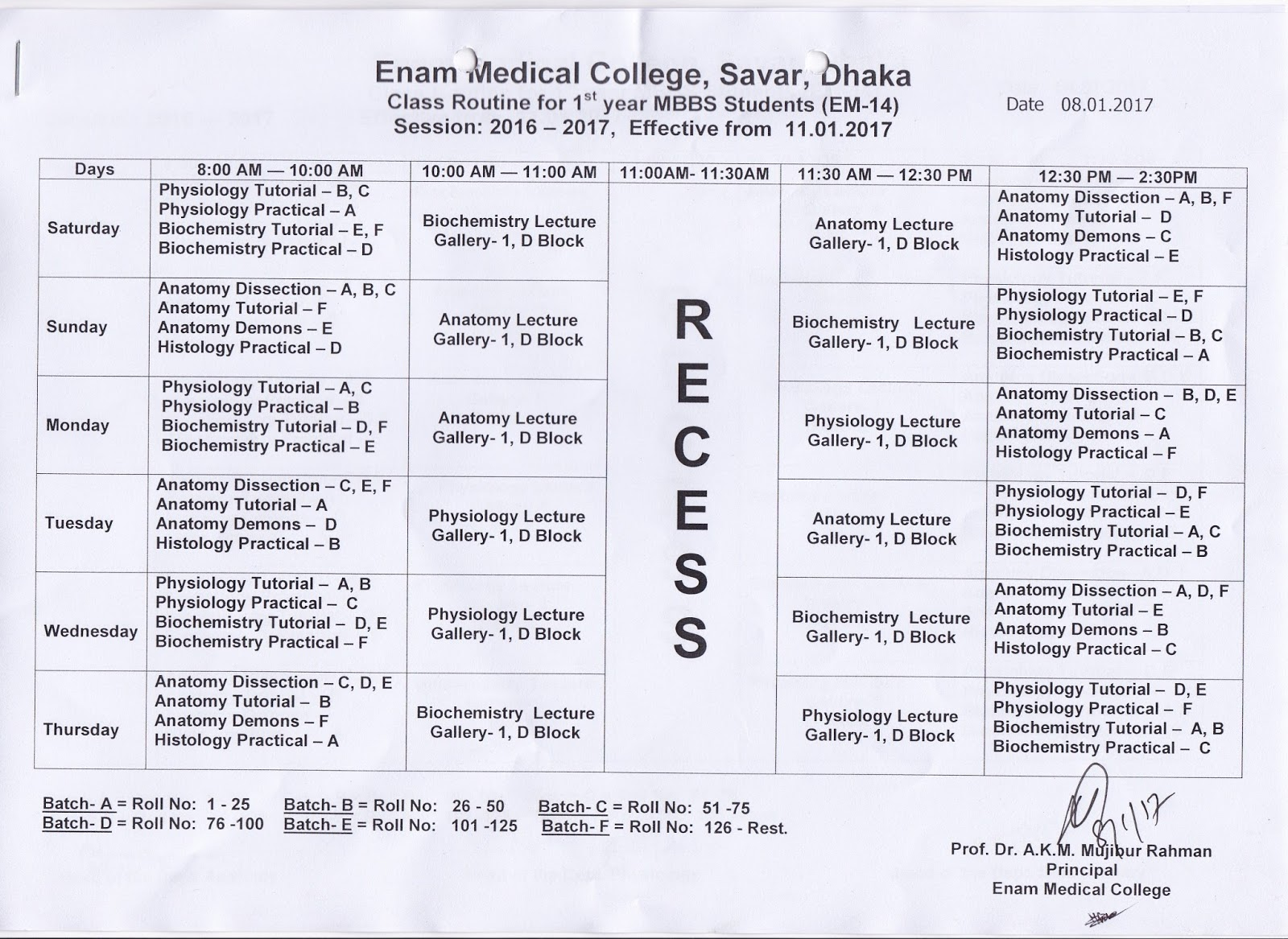 CLASS ROUTINE (EMC) ENAM MEDICAL COLLEGE