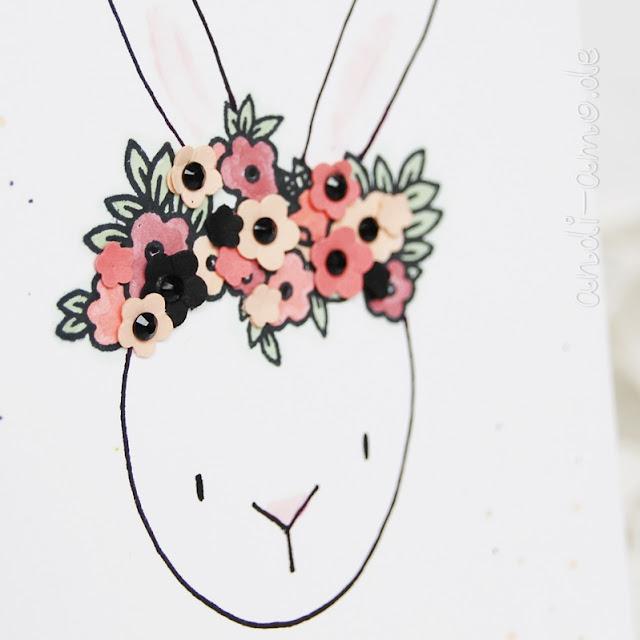 Häschen mit Blumenkranz Gestempelt und Gestanzt