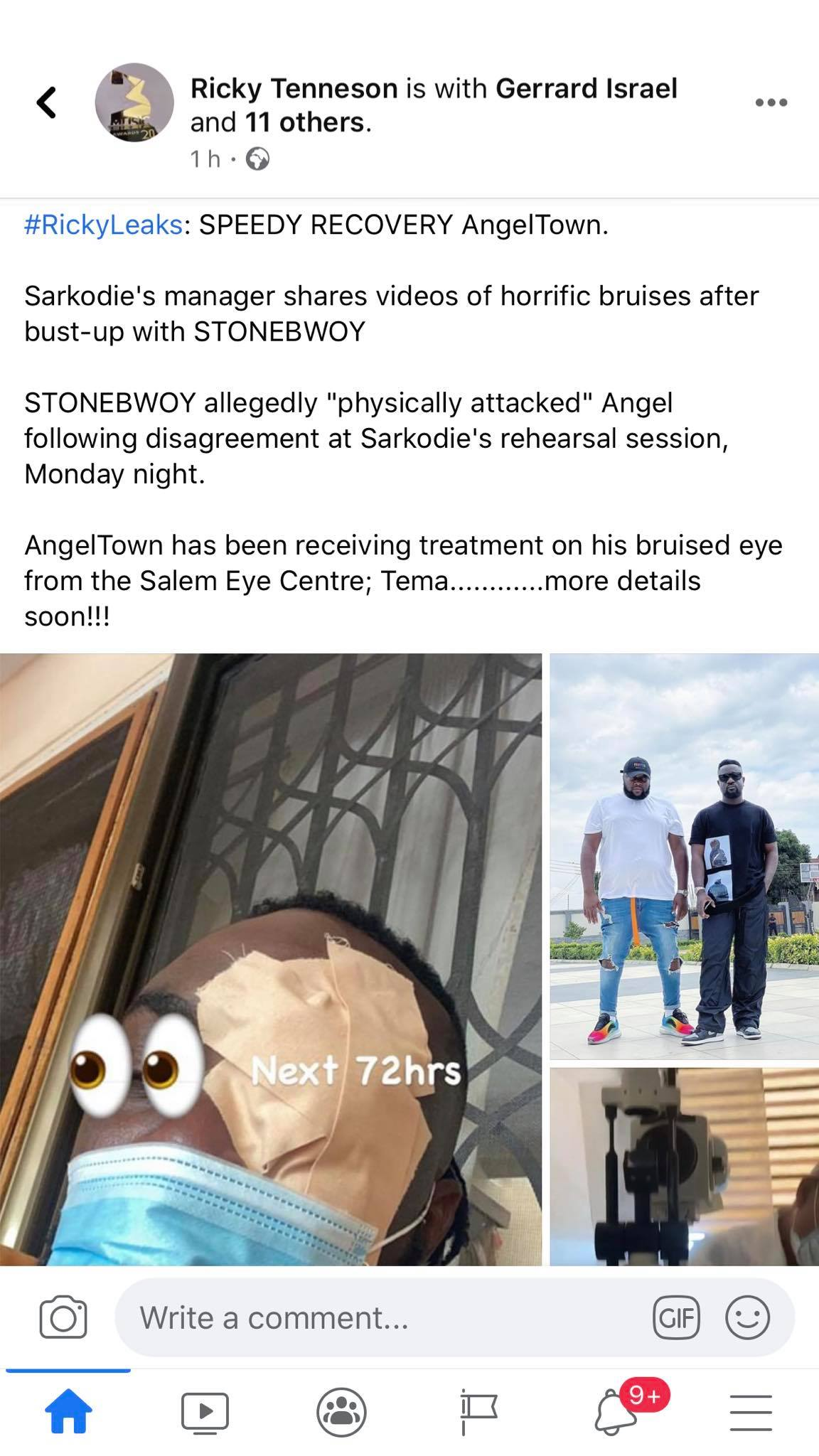 angel town baby and stonebwoy2 - VIDEO: Stonebwoy Allegedly Punched Sarkodie's Manager's Eye During A Virtual Concert Rehearsals