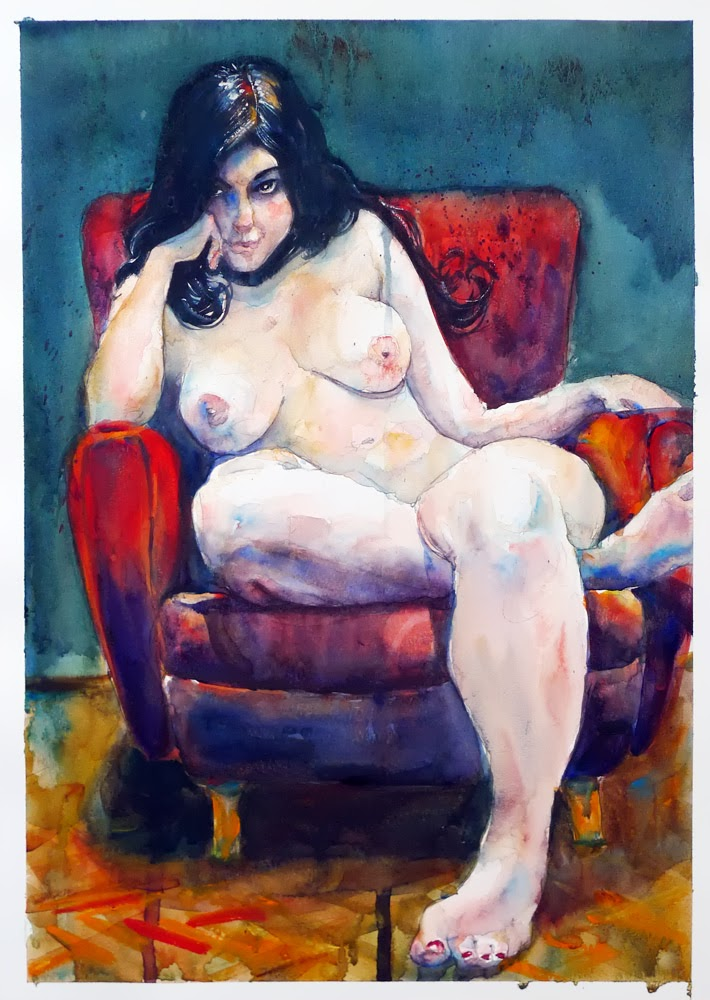 Nude In Red Armchair by David Meldrum