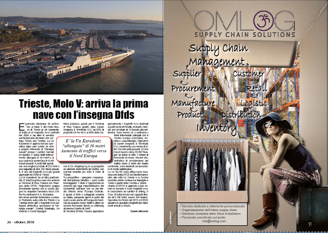 OTTOBRE 2018 PAG.26 - Trieste, Molo V: arriva la prima nave con l'insegna Dfds
