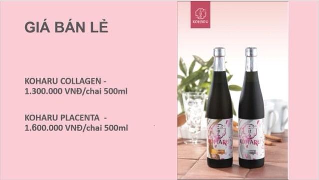 Nước uống Koharu Collagen giá bán chính thức là bao nhiêu tiền một hộp