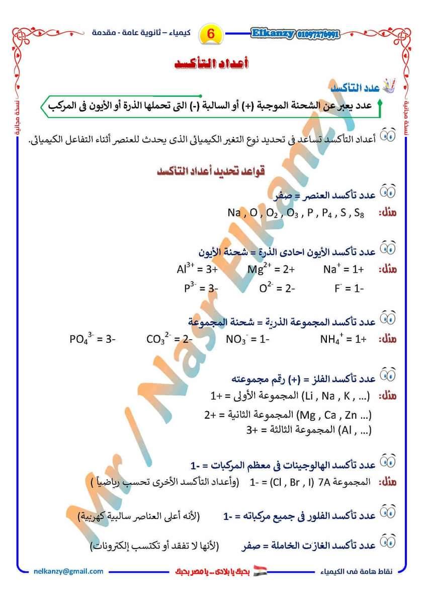 أساسيات الكيمياء للثانوية العامة فى نقاط هامة