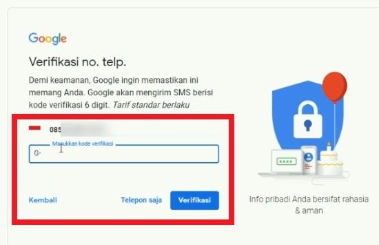 Permintaan Verifikasi Nomor Telepon Saat Daftar Gmail 2