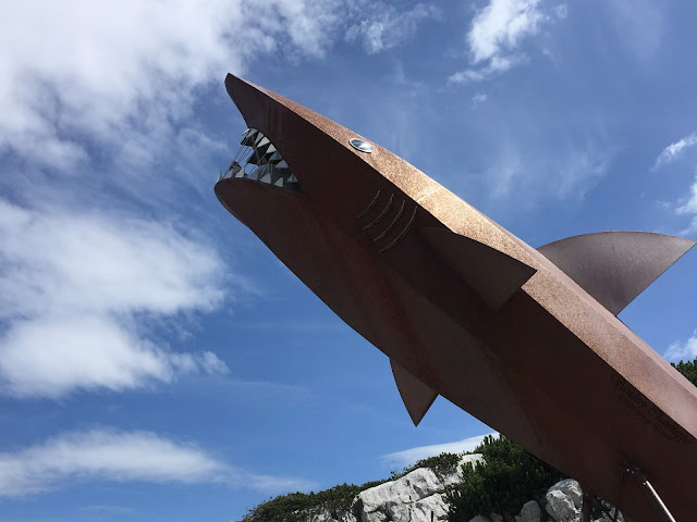 The shark structure marking the end of the Dachstein shark trail, the view point is at the mouth of the shark which can be reached from inside through steps