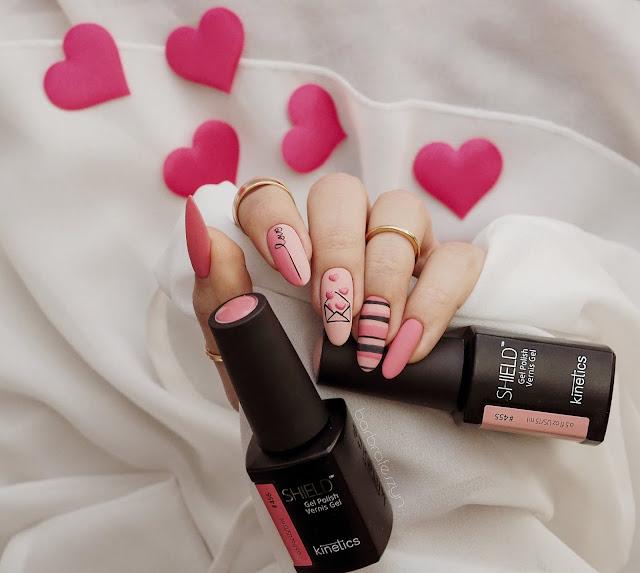 proste walentynkowe paznokcie