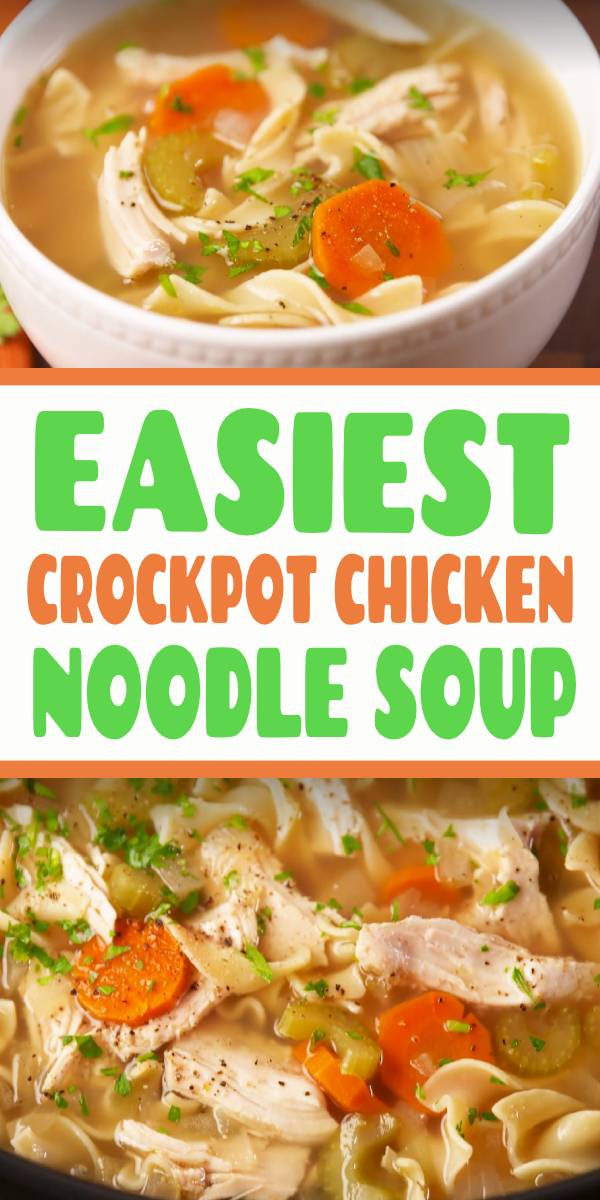 The easiest way to make the most comforting meal. | This Crockpot Chicken NoodleSoup is the easiest way to make your favorite comfort food. With boneless skinless chicken breasts, carrots, celery, and herbs, it's SO good on a cold night. #easy #chicken #noodle #soup #crockpot #slowcooker