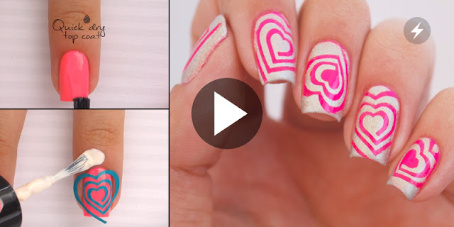 How To Apply Simple  And Easy Heart Cyclone Nail Art - See Video Tutorial