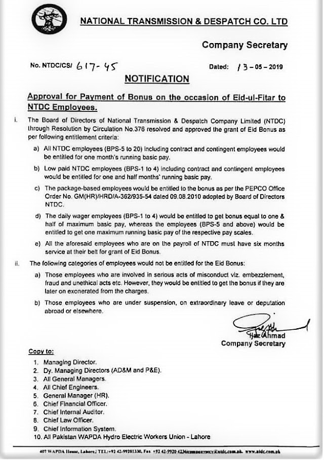 PAYMENT OF BONUS TO THE NTDC EMPLOYEES ON EID UL FITR