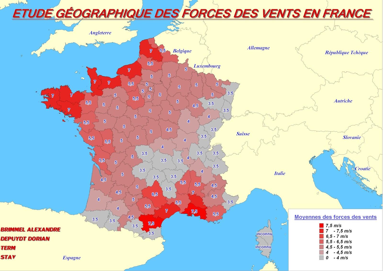 Étude géographique de l'énergie éolienne en France: | Des cartes