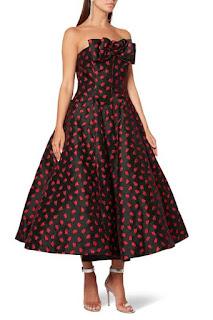 فستان غريس بنقشة زهرة التوليب أحمر من موقع متجر اناس للتسوق