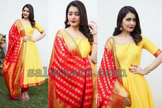 Raashi Khanna in Yellow Silk Salwar