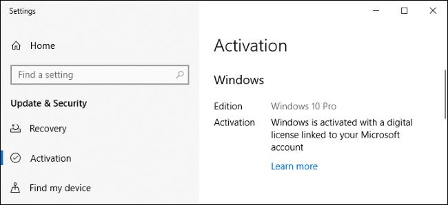 شاشة إعدادات Windows 10 التي تظهر أنه قد تم تنشيطه بترخيص رقمي.