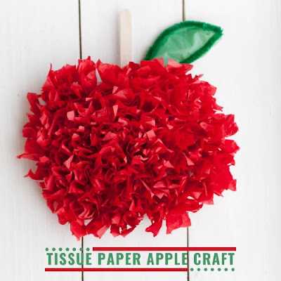Tissue Paper Apple Craft by Homeschool Preschool