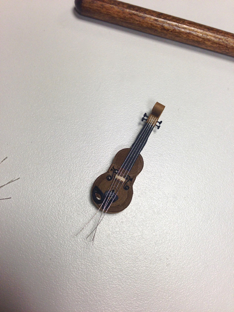 paper violin with strings in place