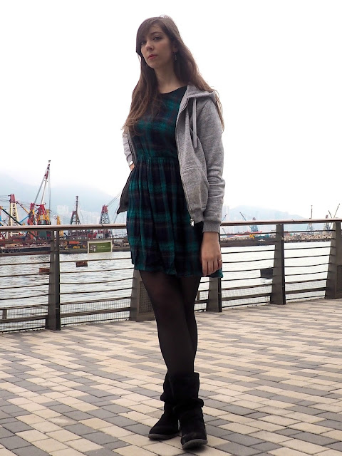 Hooded - outfit of large grey zip-up hoodie, green tartan print dress, slouch black suede boots and tights
