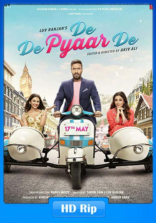 De De Pyaar De 2019 Hindi 720p HDRip ESub x264 | 480p 300MB | 100MB HEVC Poster
