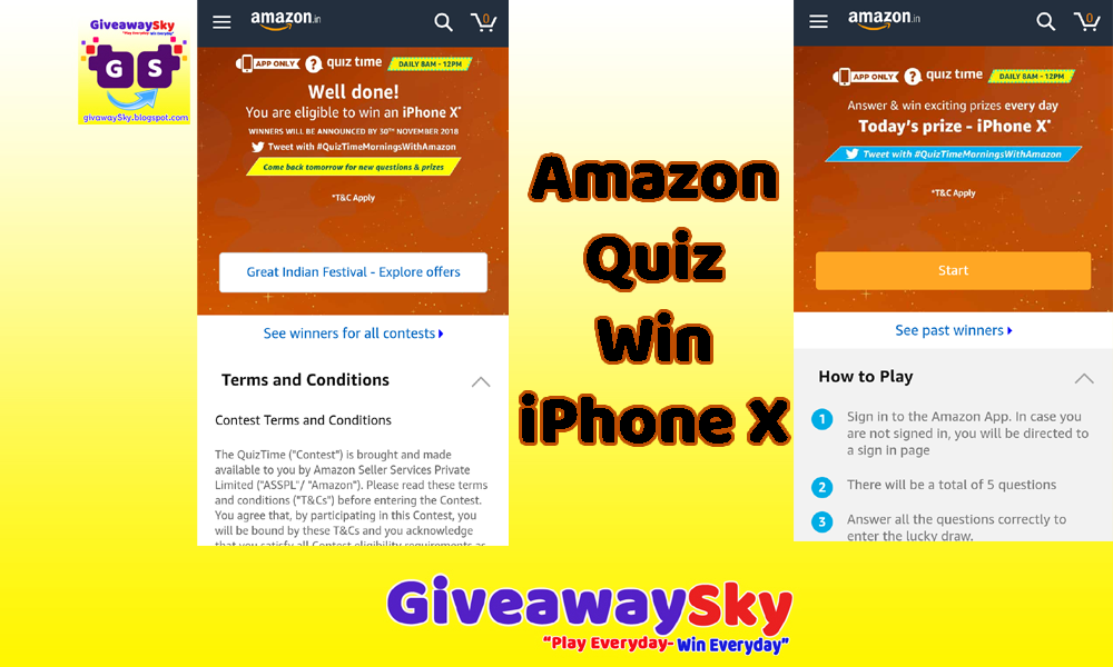 Amazon App Giveaway iPhone X With Ans - GiveawaySky