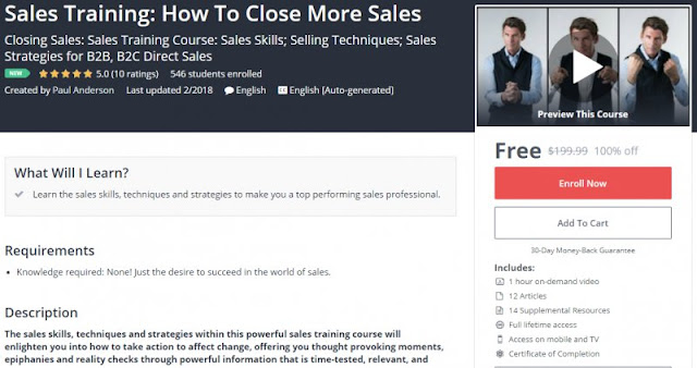 [100% Off] Sales Training: How To Close More Sales| Worth 199,99$