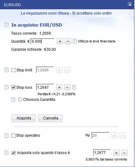 Esempio di investimento sul Forex, ordine di acquisto su eurusd